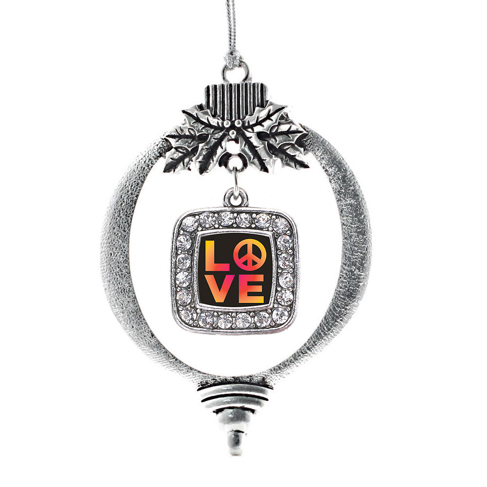 Peace And Love Square Charm Christmas / Holiday Ornament