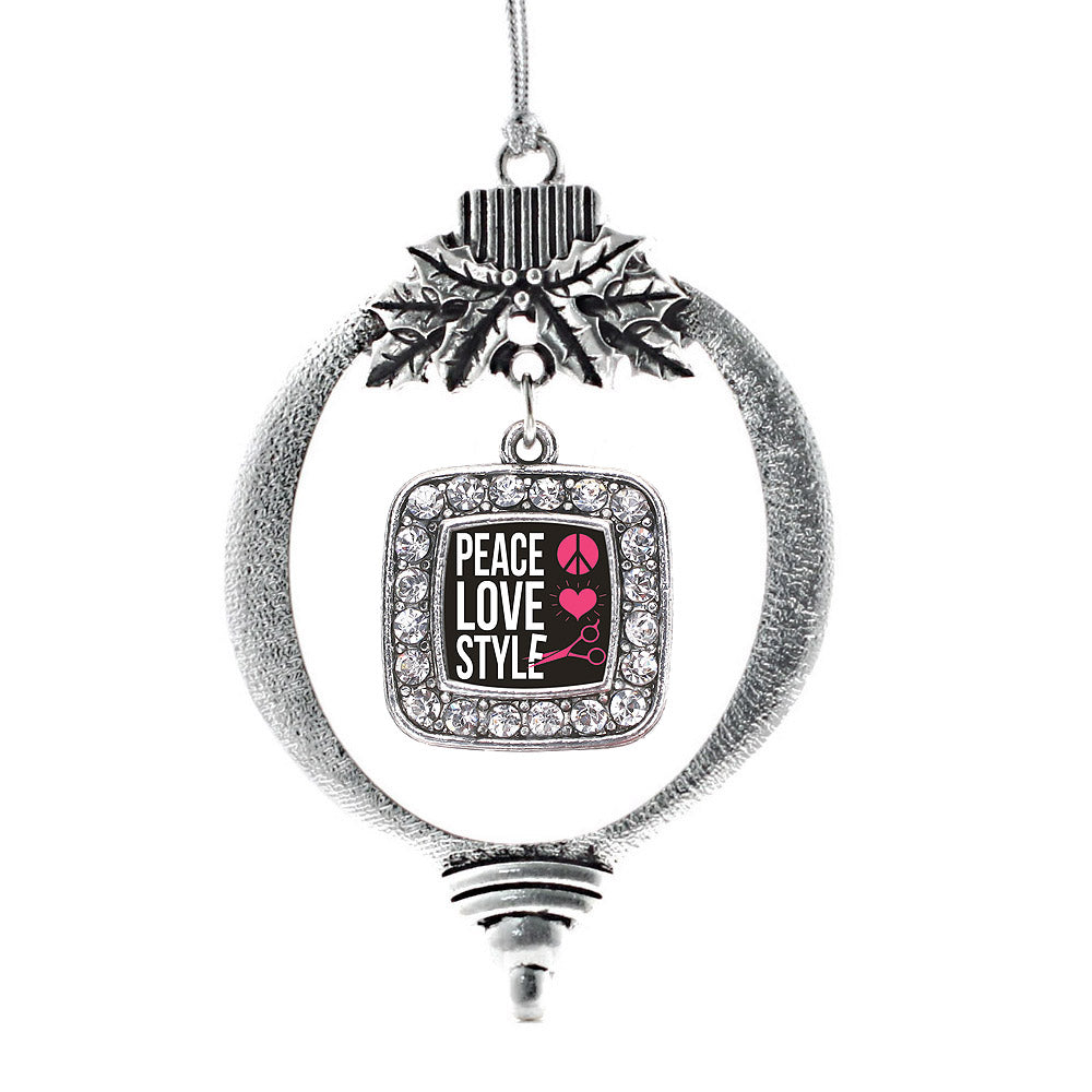 Peace, Love, And Style Square Charm Christmas / Holiday Ornament