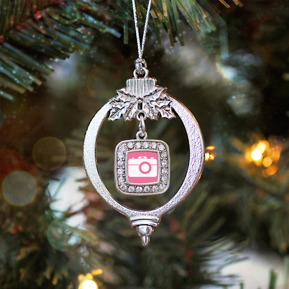 Pink Camera Square Charm Christmas / Holiday Ornament