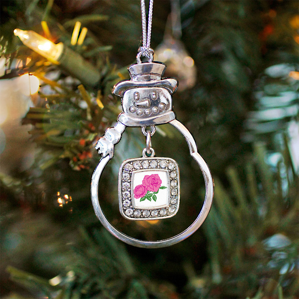 Pink Rose Square Charm Christmas / Holiday Ornament