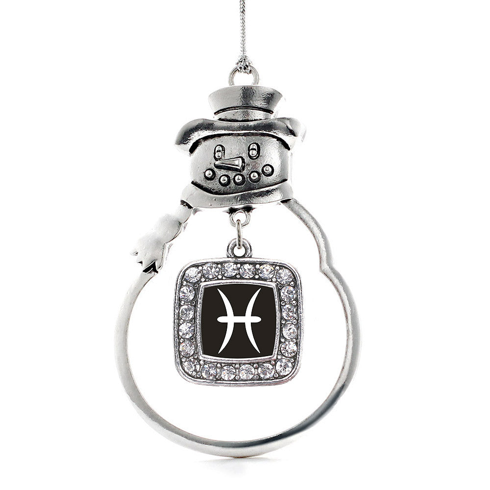 Pisces Zodiac Square Charm Christmas / Holiday Ornament