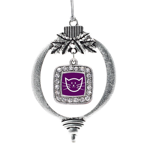 Pretty Kitty Square Charm Christmas / Holiday Ornament