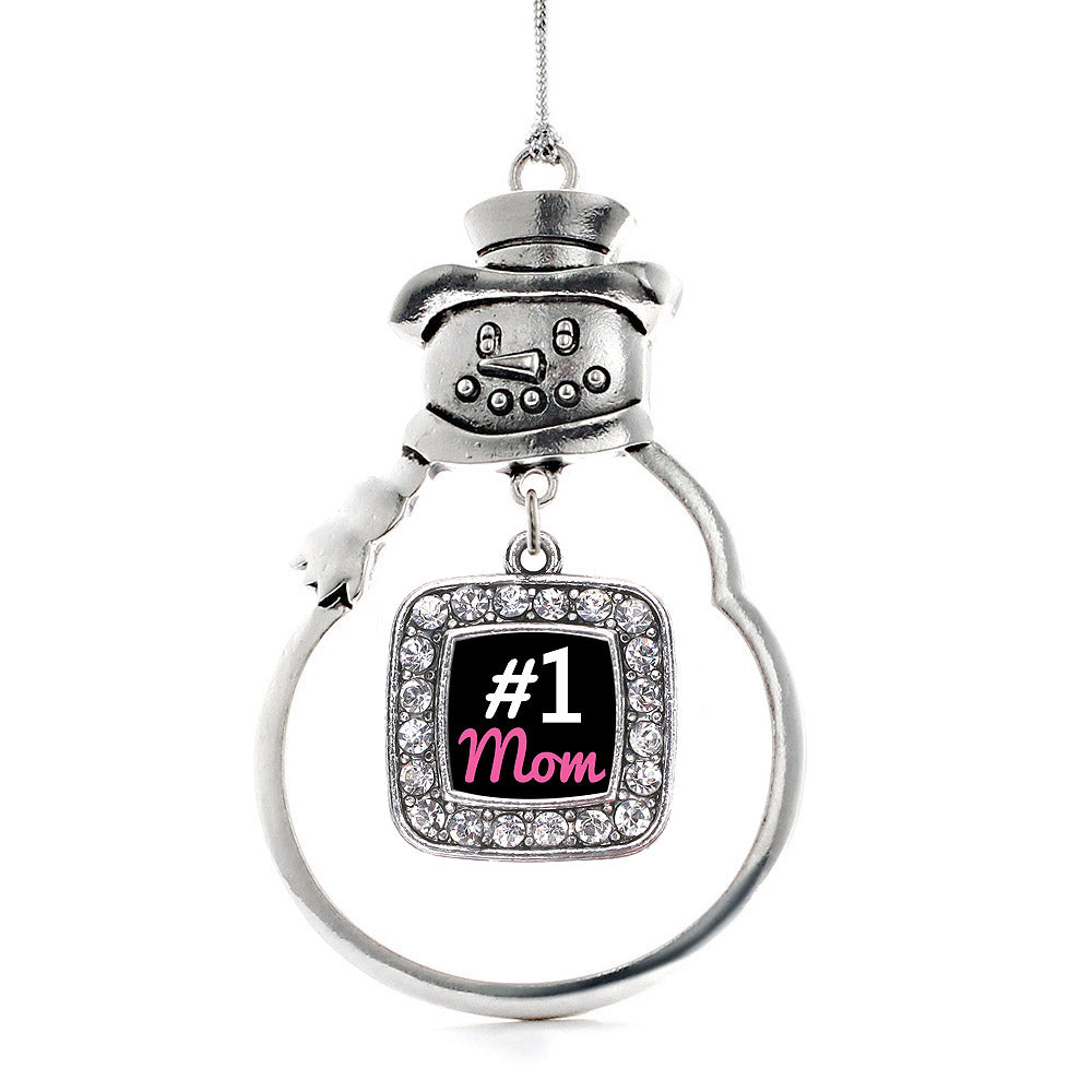 #1 Mom Square Charm Christmas / Holiday Ornament