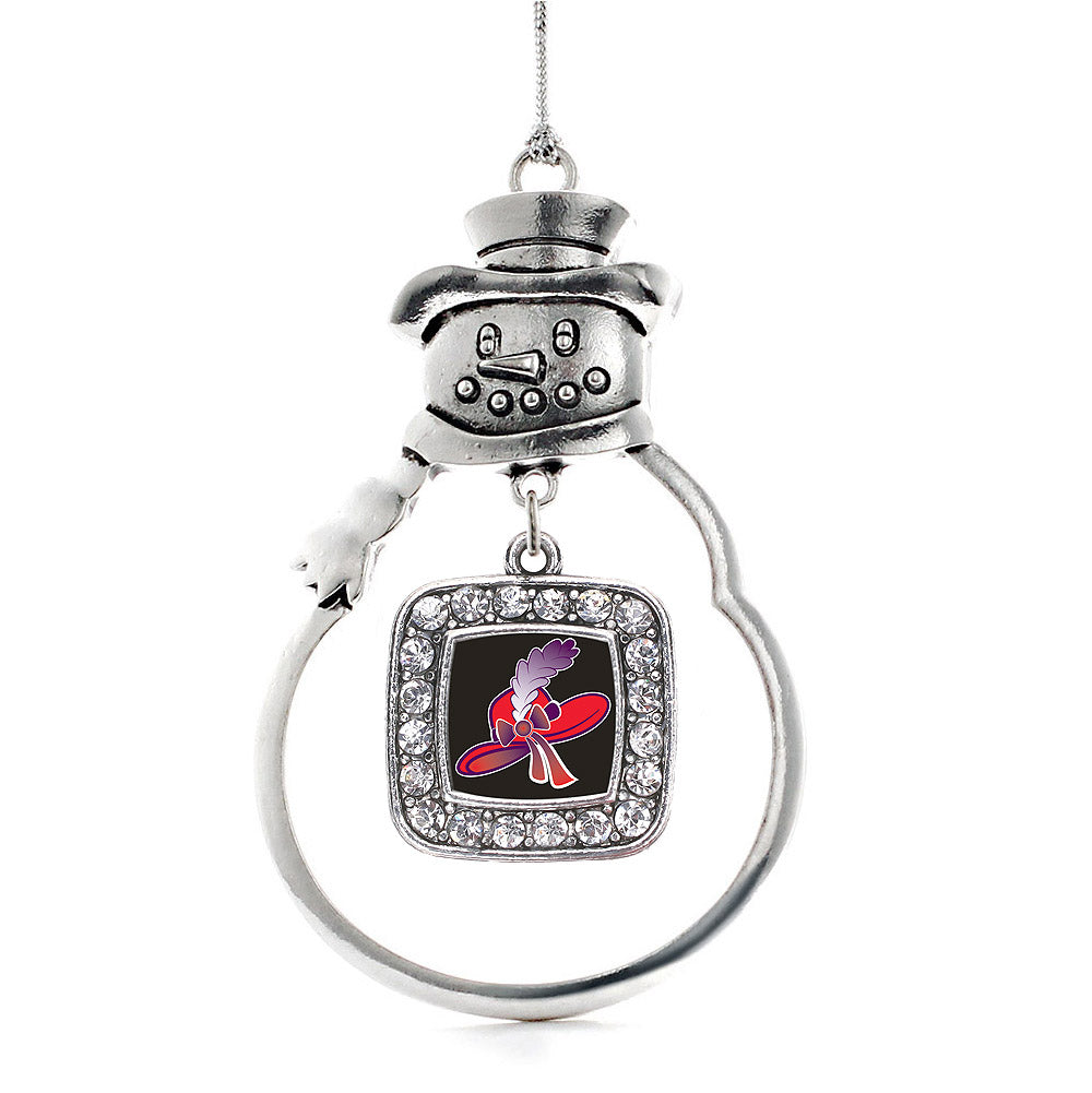 Red Hat Square Charm Christmas / Holiday Ornament