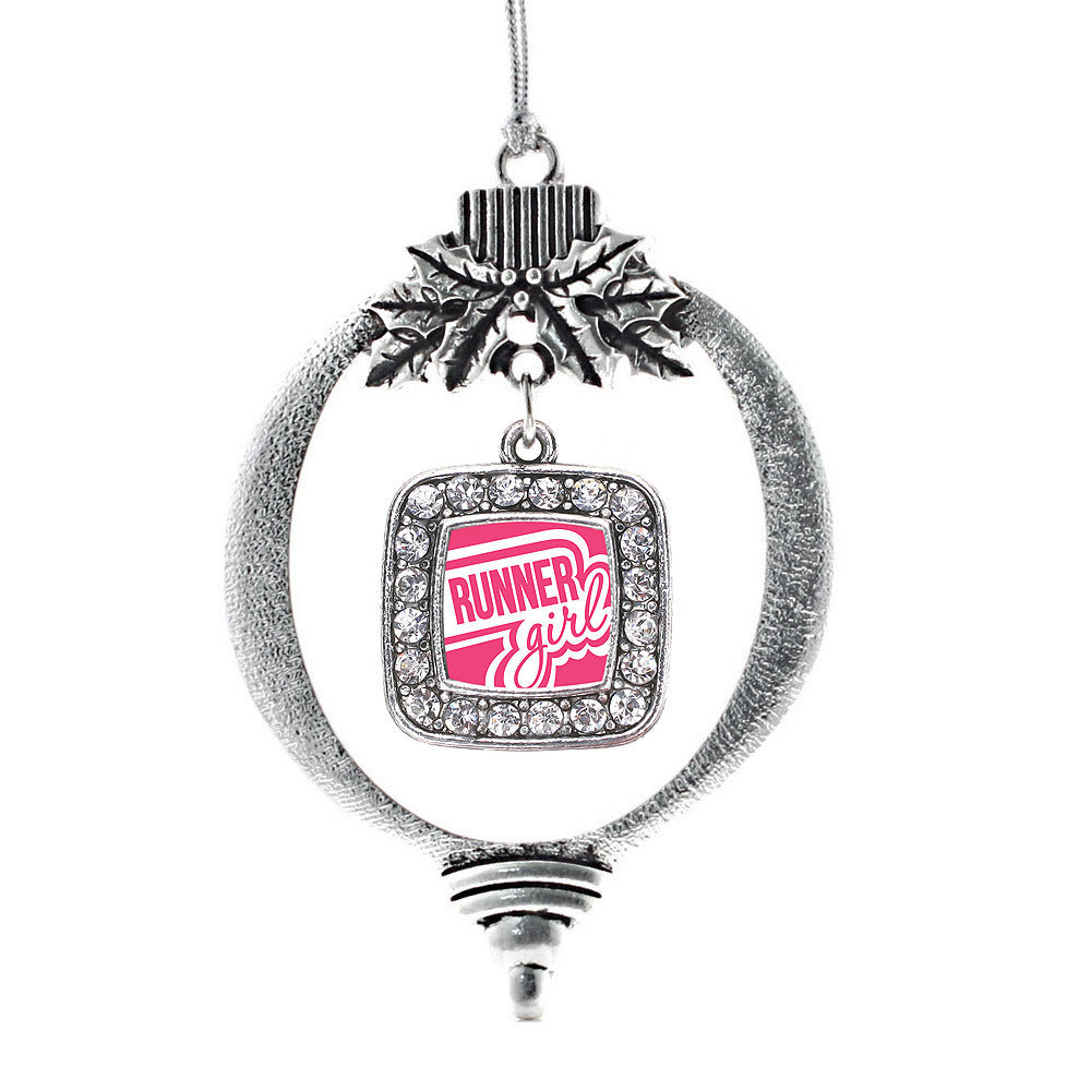 Runner Girl Square Charm Christmas / Holiday Ornament