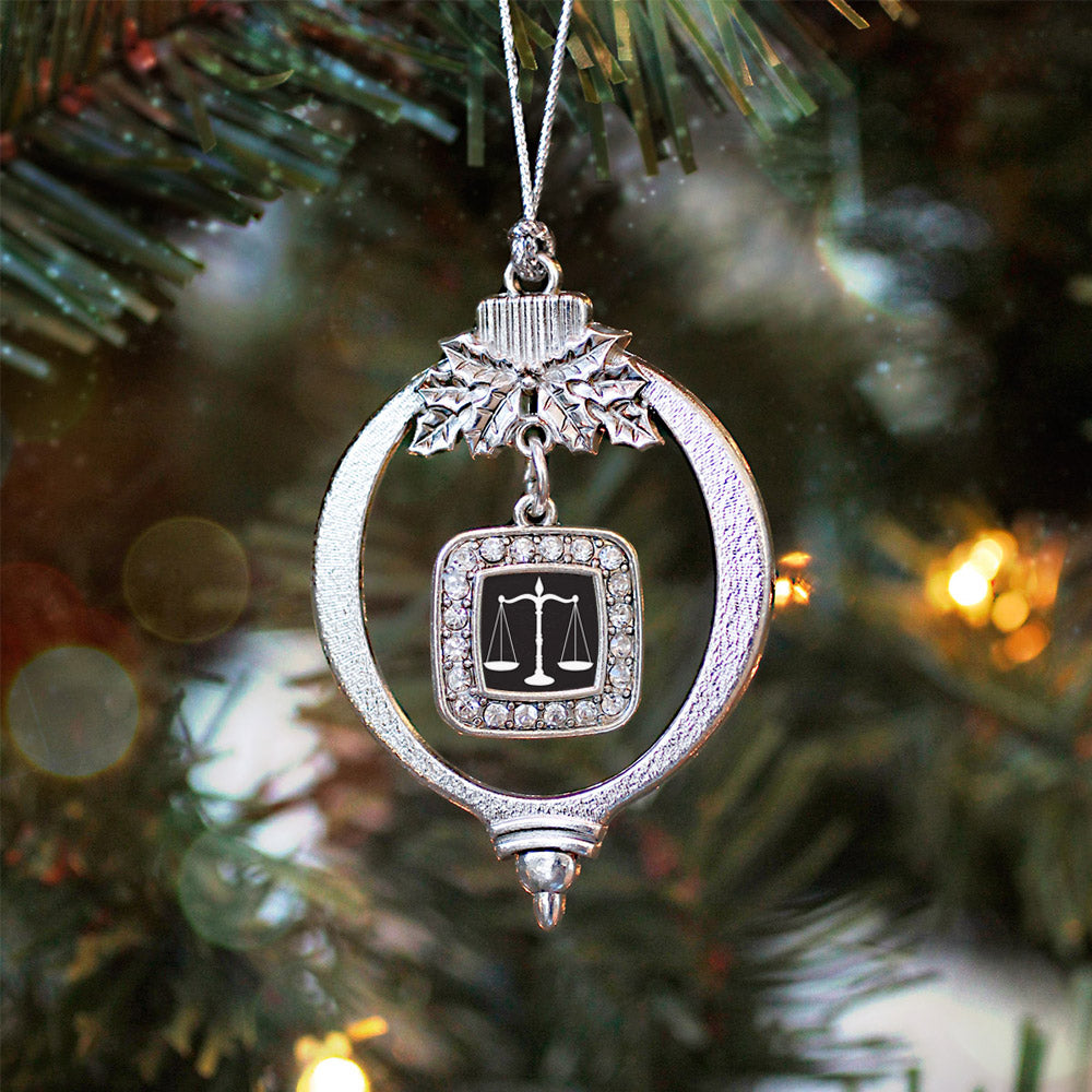 Scale Of Justice Square Charm Christmas / Holiday Ornament