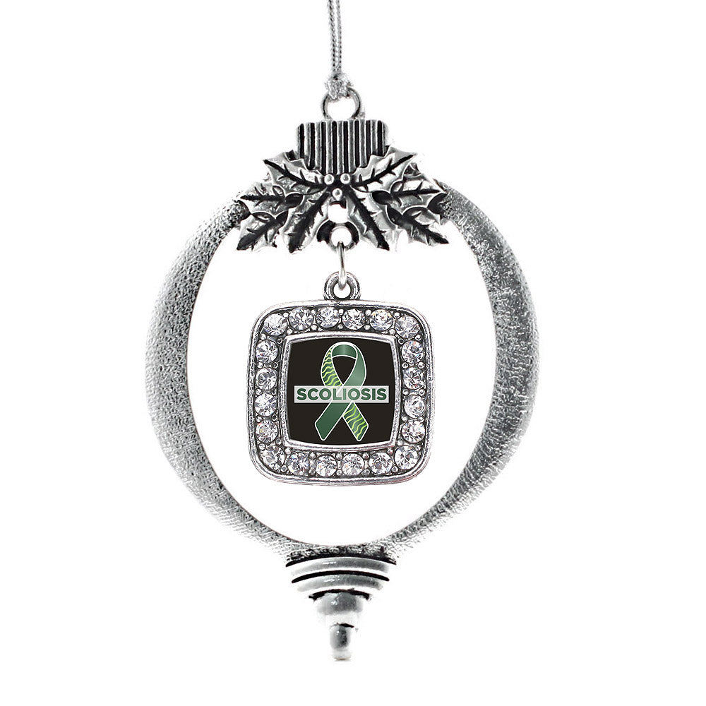 Scoliosis Support and Awareness Square Charm Christmas / Holiday Ornament