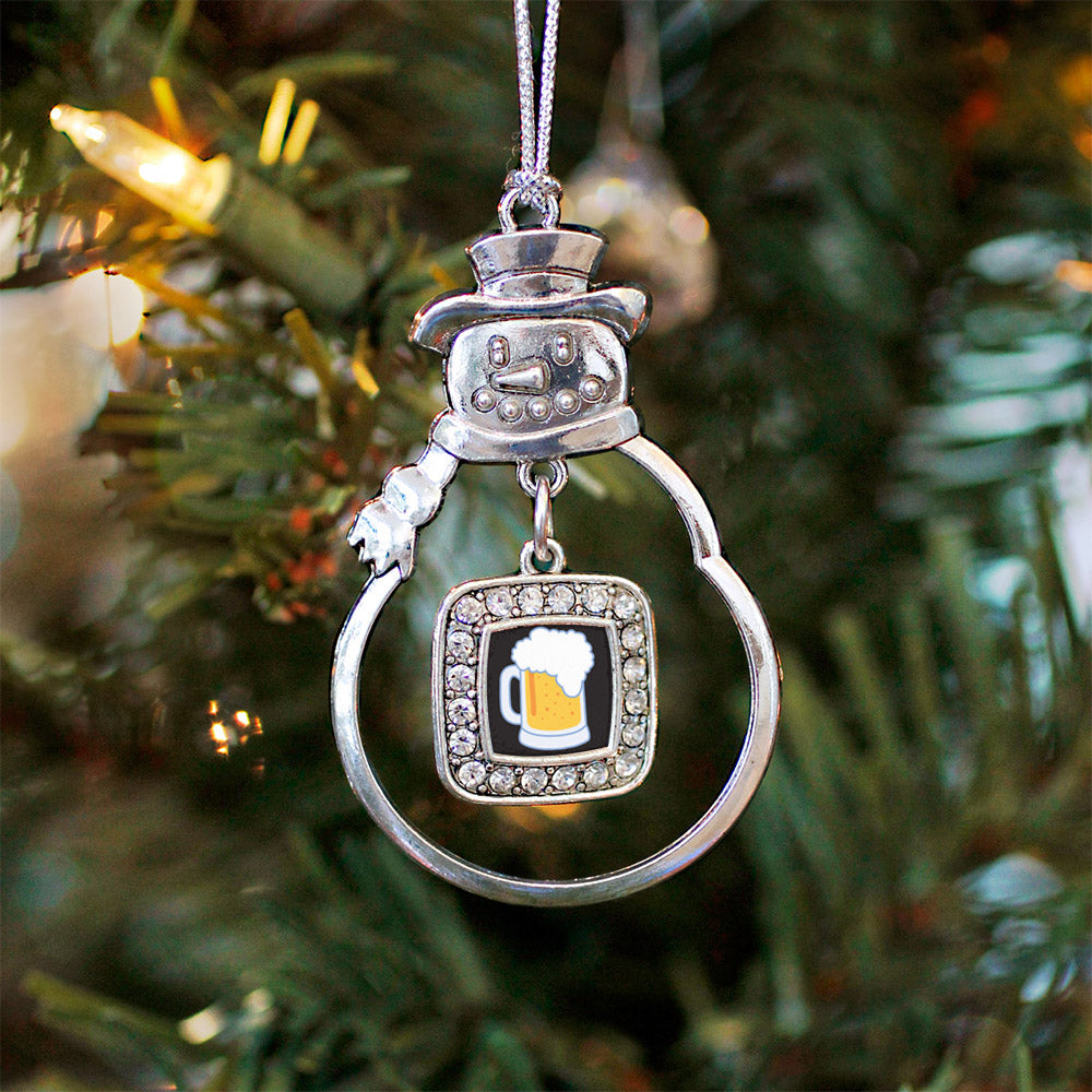 Beer Lovers Square Charm Christmas / Holiday Ornament