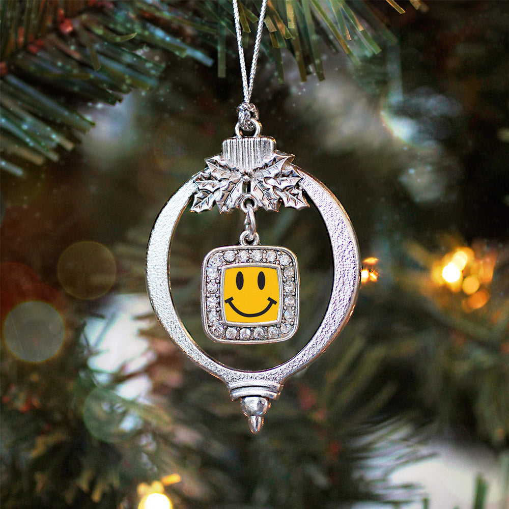 Smiley Face Square Charm Christmas / Holiday Ornament