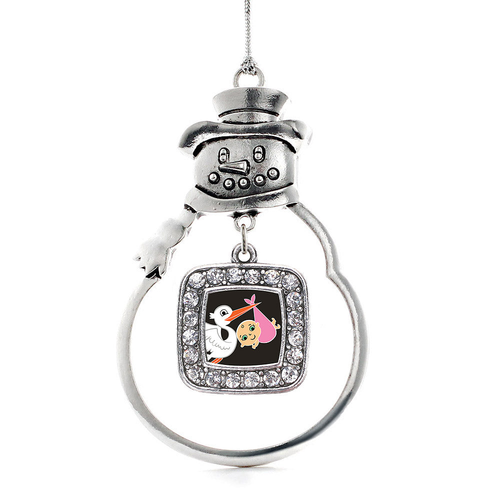 Stork Brings A Girl Square Charm Christmas / Holiday Ornament