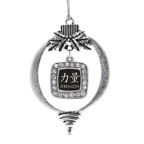 Strength In Chinese Square Charm Christmas / Holiday Ornament