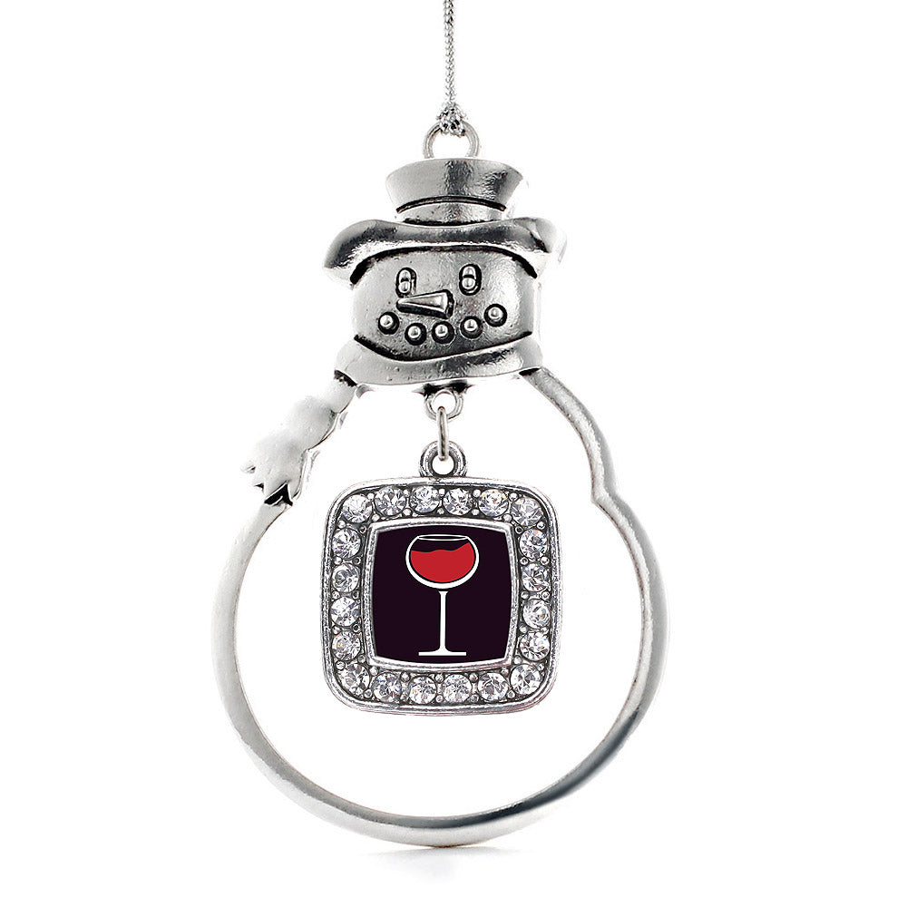 Wine Lovers Square Charm Christmas / Holiday Ornament