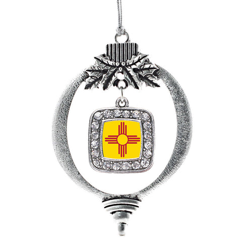 New Mexico Flag Square Charm Christmas / Holiday Ornament