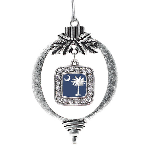 South Carolina Flag Square Charm Christmas / Holiday Ornament