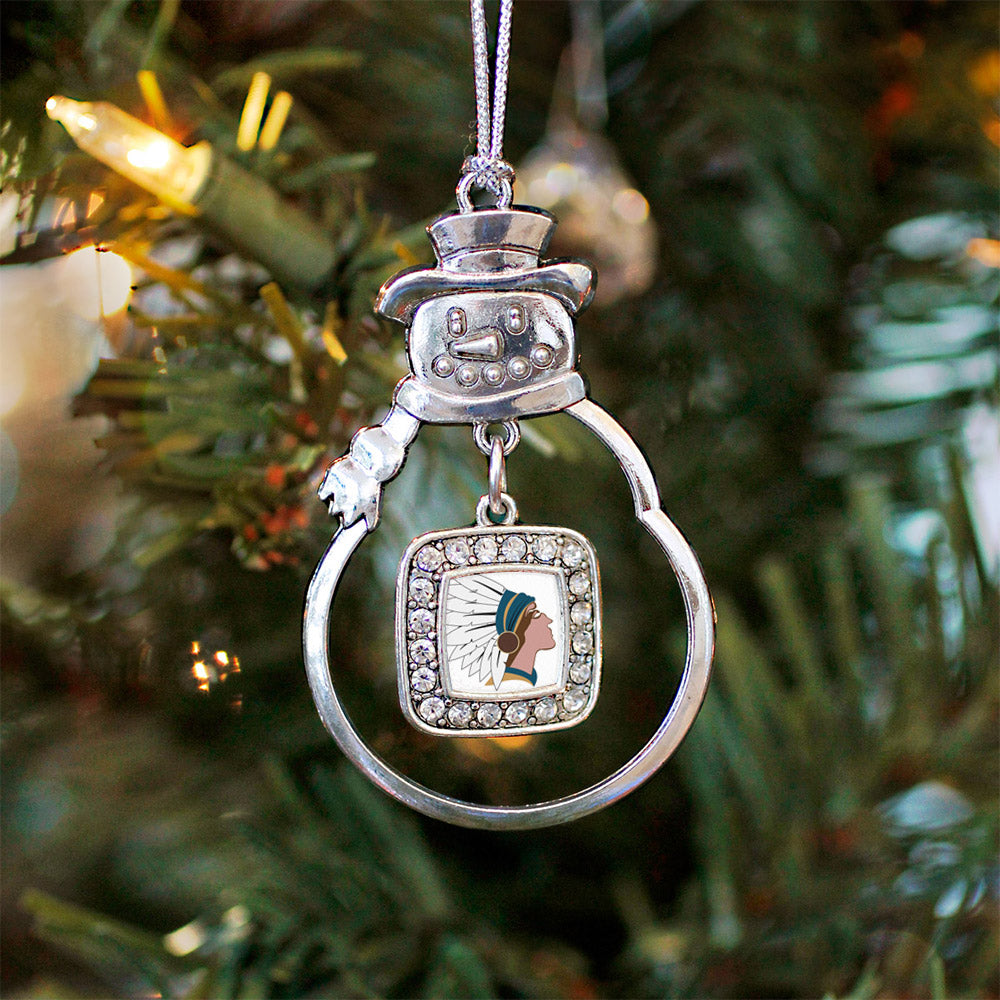 Native American Square Charm Christmas / Holiday Ornament
