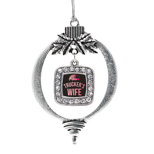 Trucker's Wife Square Charm Christmas / Holiday Ornament