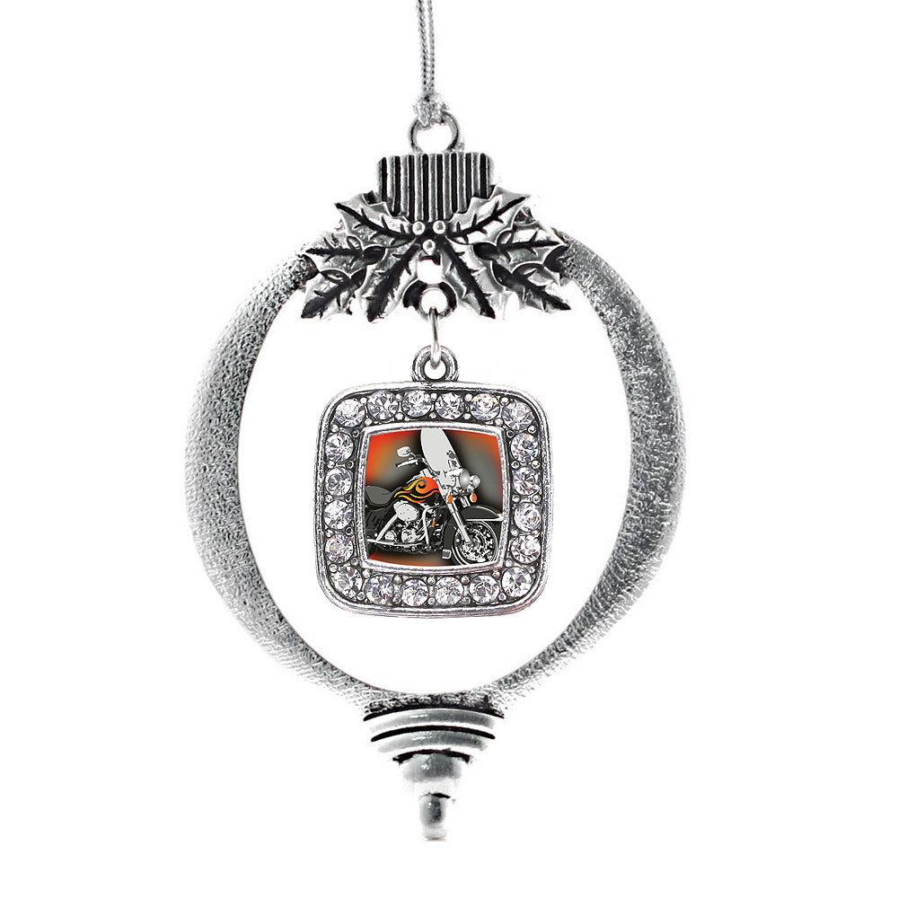 Motorcycle Lovers Square Charm Christmas / Holiday Ornament