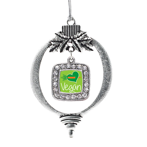 Vegan Square Charm Christmas / Holiday Ornament