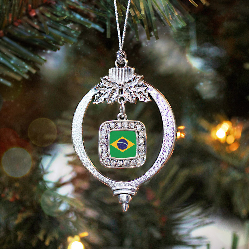 Brazilian Flag Square Charm Christmas / Holiday Ornament