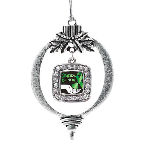 Organ Donor Square Charm Christmas / Holiday Ornament