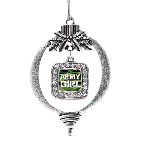 Army Girl Square Charm Christmas / Holiday Ornament