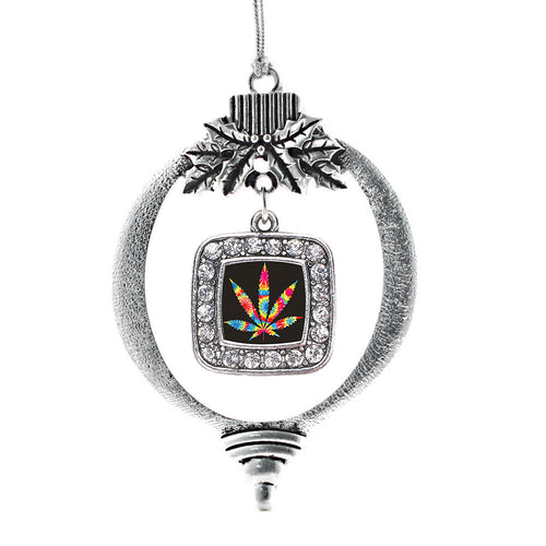 Tie Dye Marijuana Leaf Square Charm Christmas / Holiday Ornament