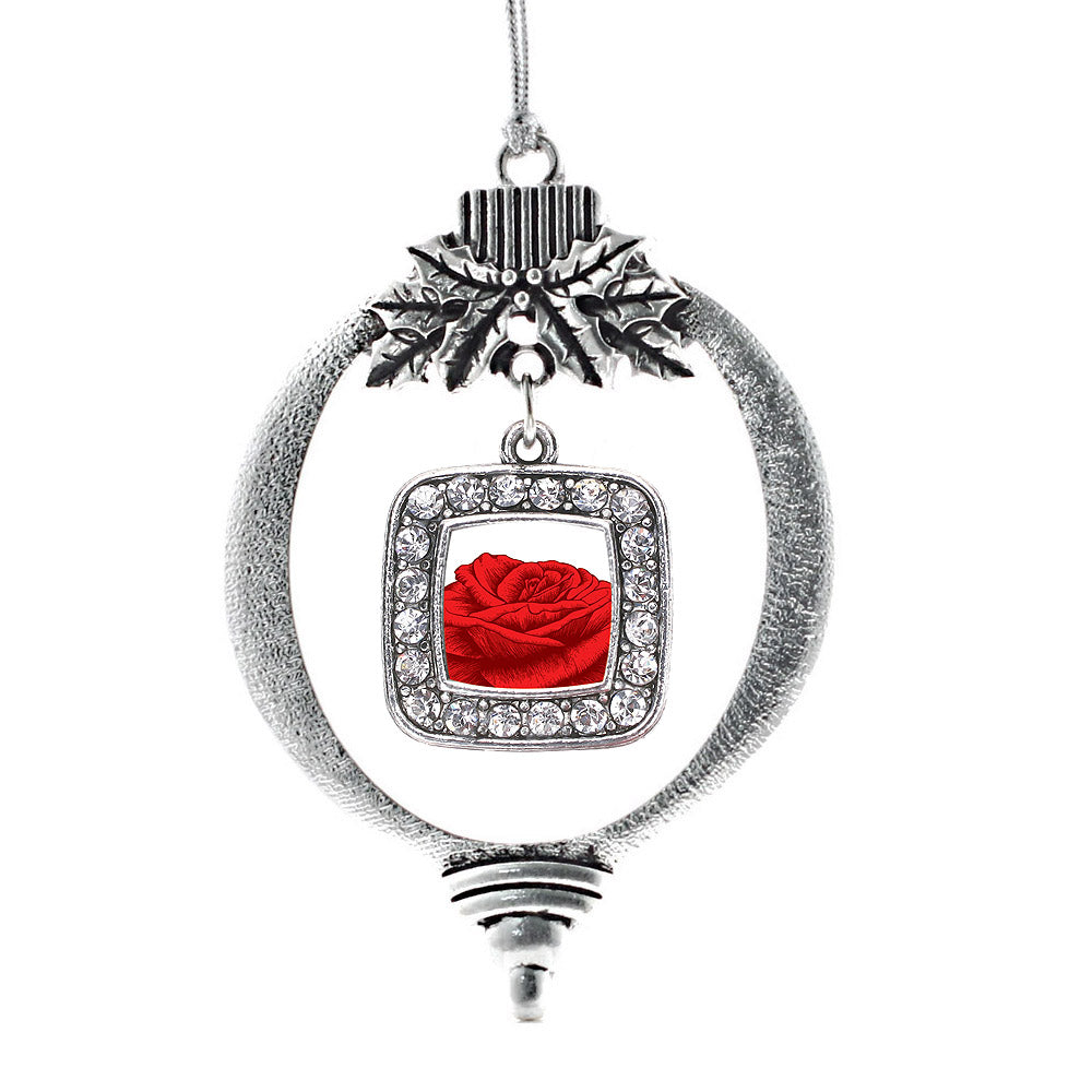 Red Rose Square Charm Christmas / Holiday Ornament
