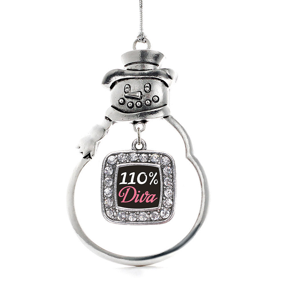 110% Diva Square Charm Christmas / Holiday Ornament