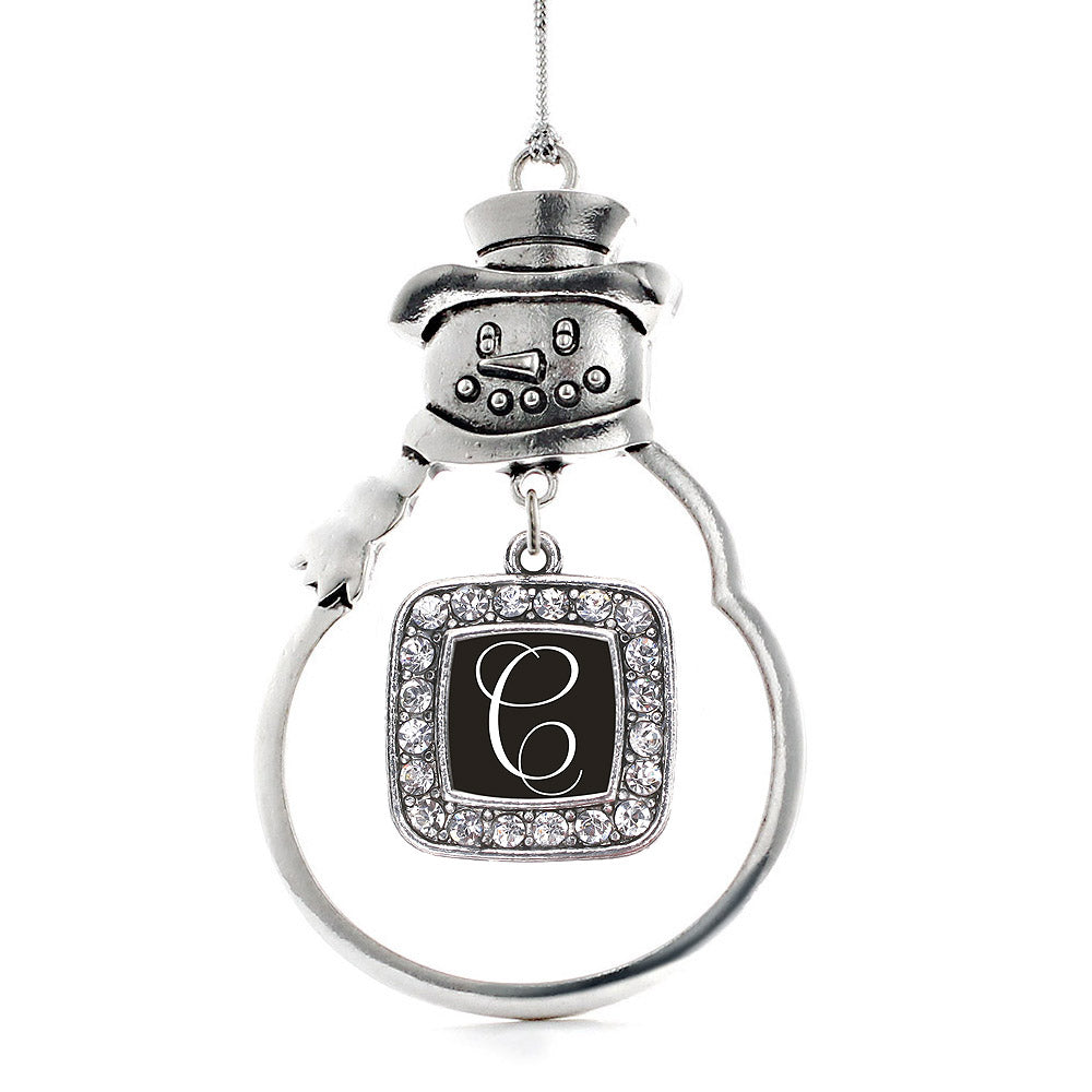 My Script Initials - Letter C Square Charm Christmas / Holiday Ornament