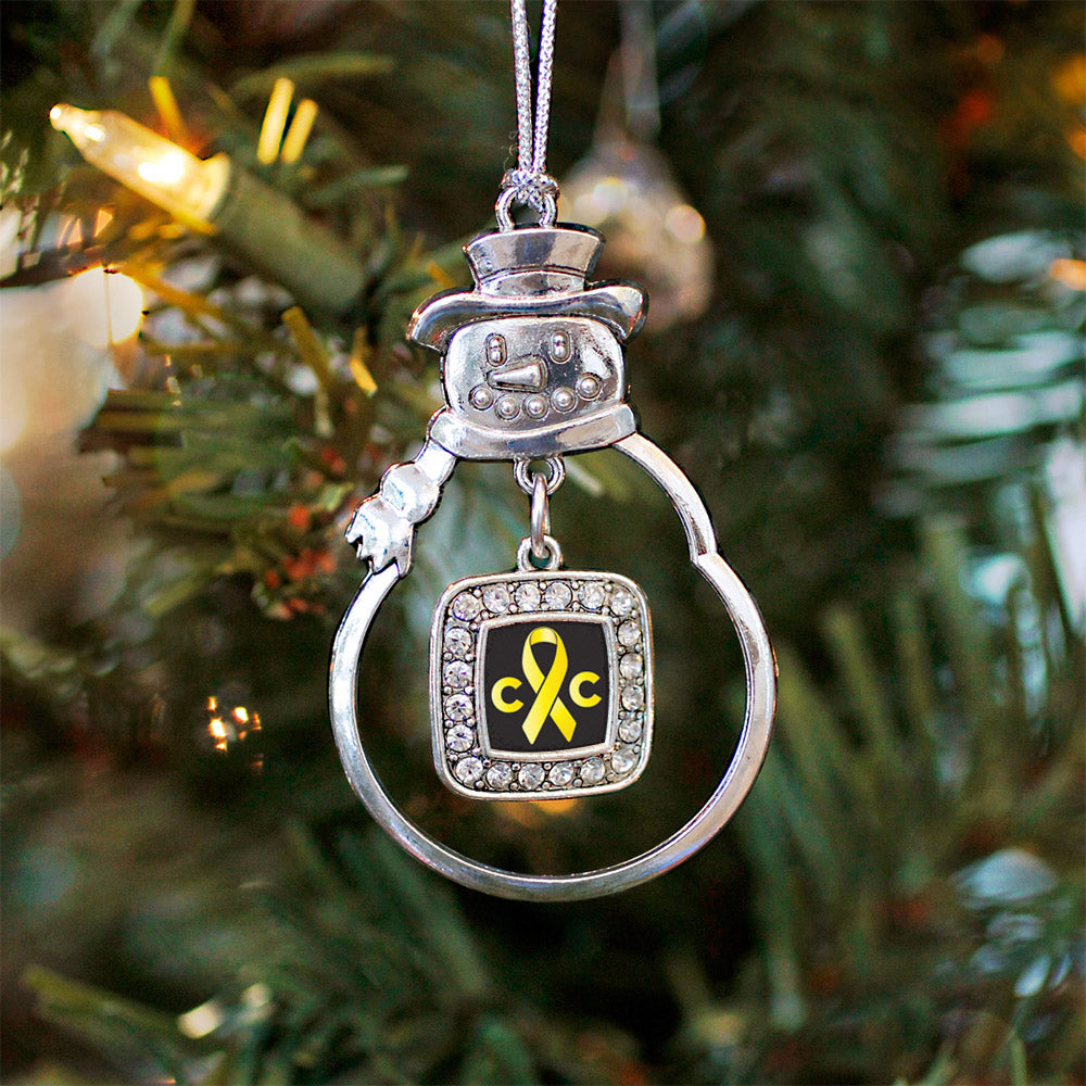 Childhood Cancer Support Square Charm Christmas / Holiday Ornament