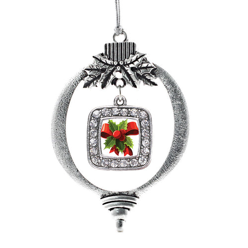 Holly Plant Square Charm Christmas / Holiday Ornament