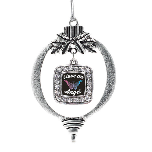 I Love An Angel Square Charm Christmas / Holiday Ornament