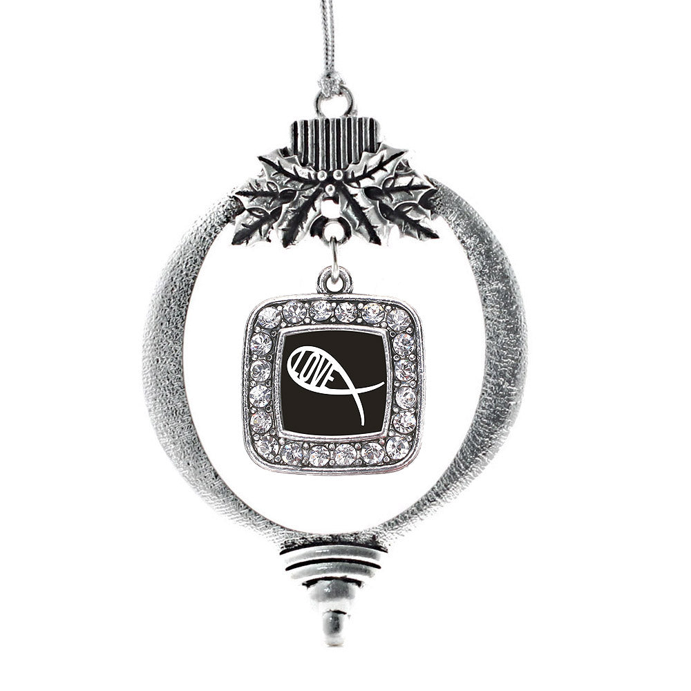 Christian Fish Love Square Charm Christmas / Holiday Ornament