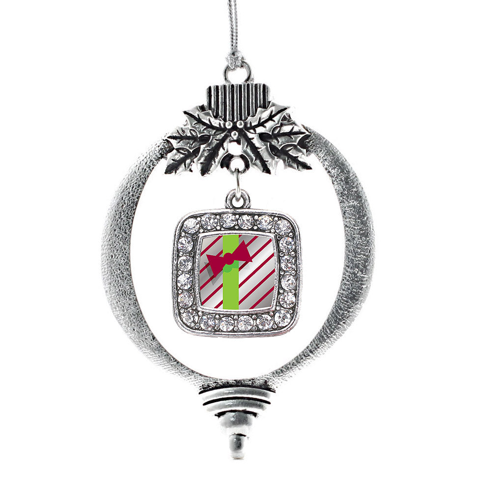 Sparkling Present Square Charm Christmas / Holiday Ornament
