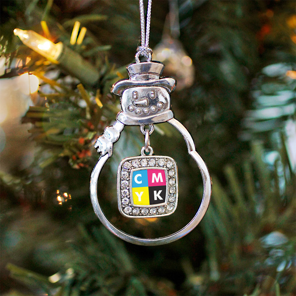 CMYK Square Charm Christmas / Holiday Ornament