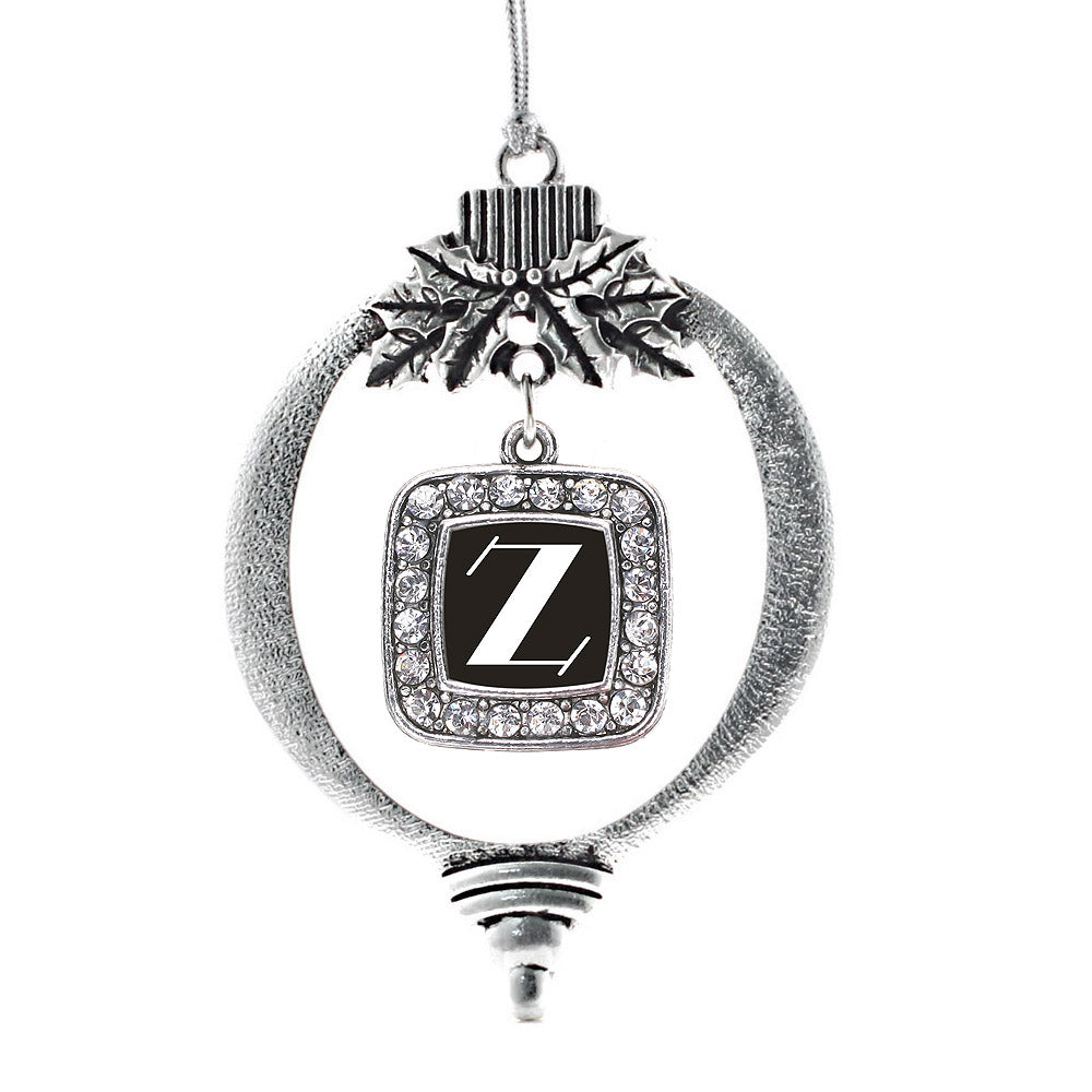 My Vintage Initials - Letter Z Square Charm Christmas / Holiday Ornament