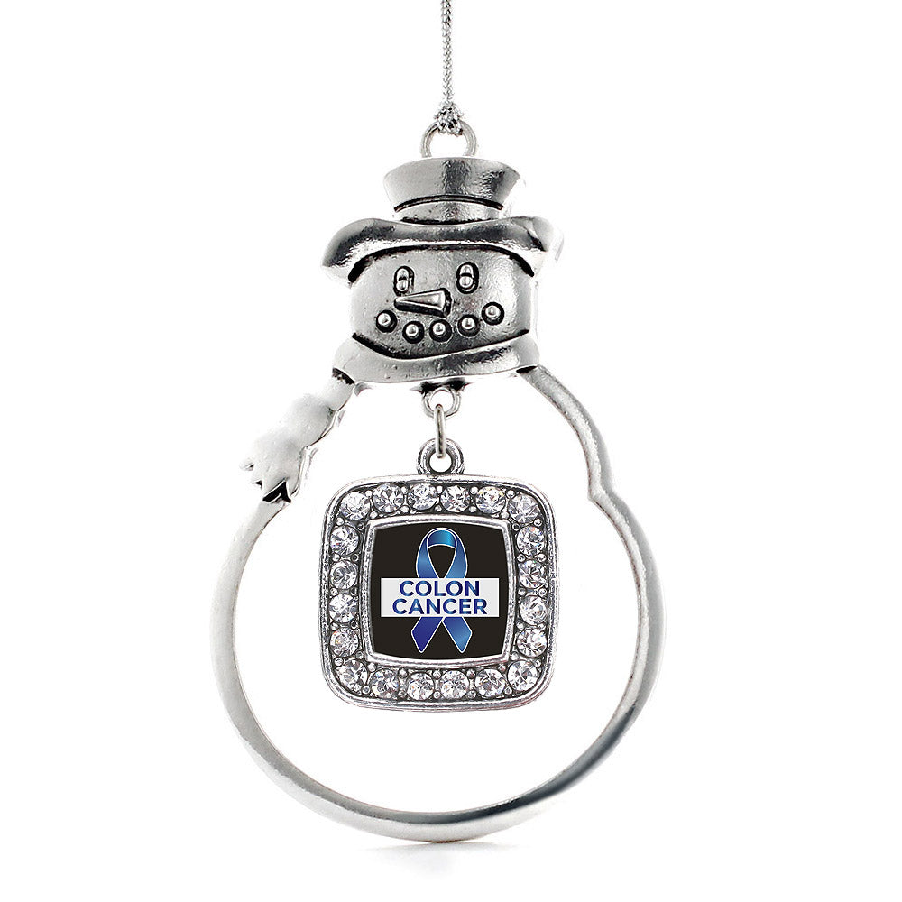 Colon Cancer Support Square Charm Christmas / Holiday Ornament