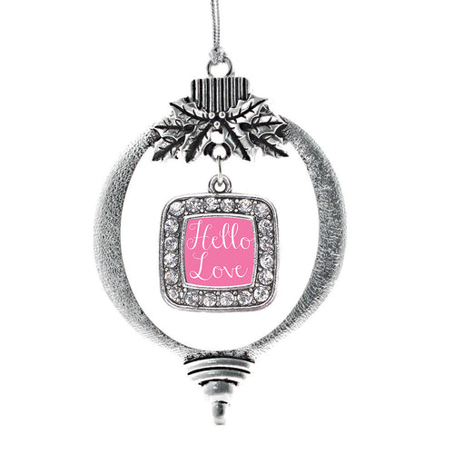 Hello Love Square Charm Christmas / Holiday Ornament