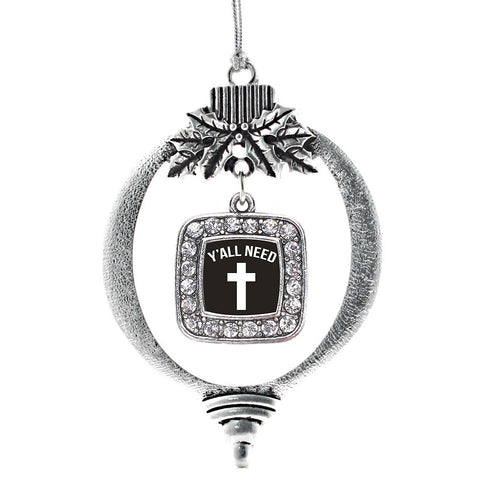 Yall Need Jesus Square Charm Christmas / Holiday Ornament