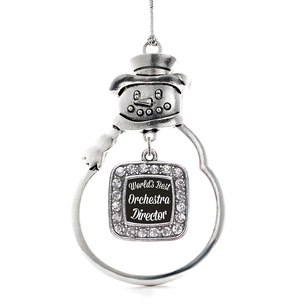 World's Best Orchestra Director Square Charm Christmas / Holiday Ornament