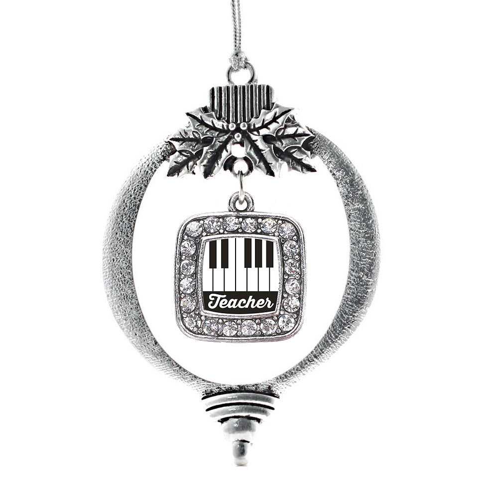 Piano Teacher Square Charm Christmas / Holiday Ornament