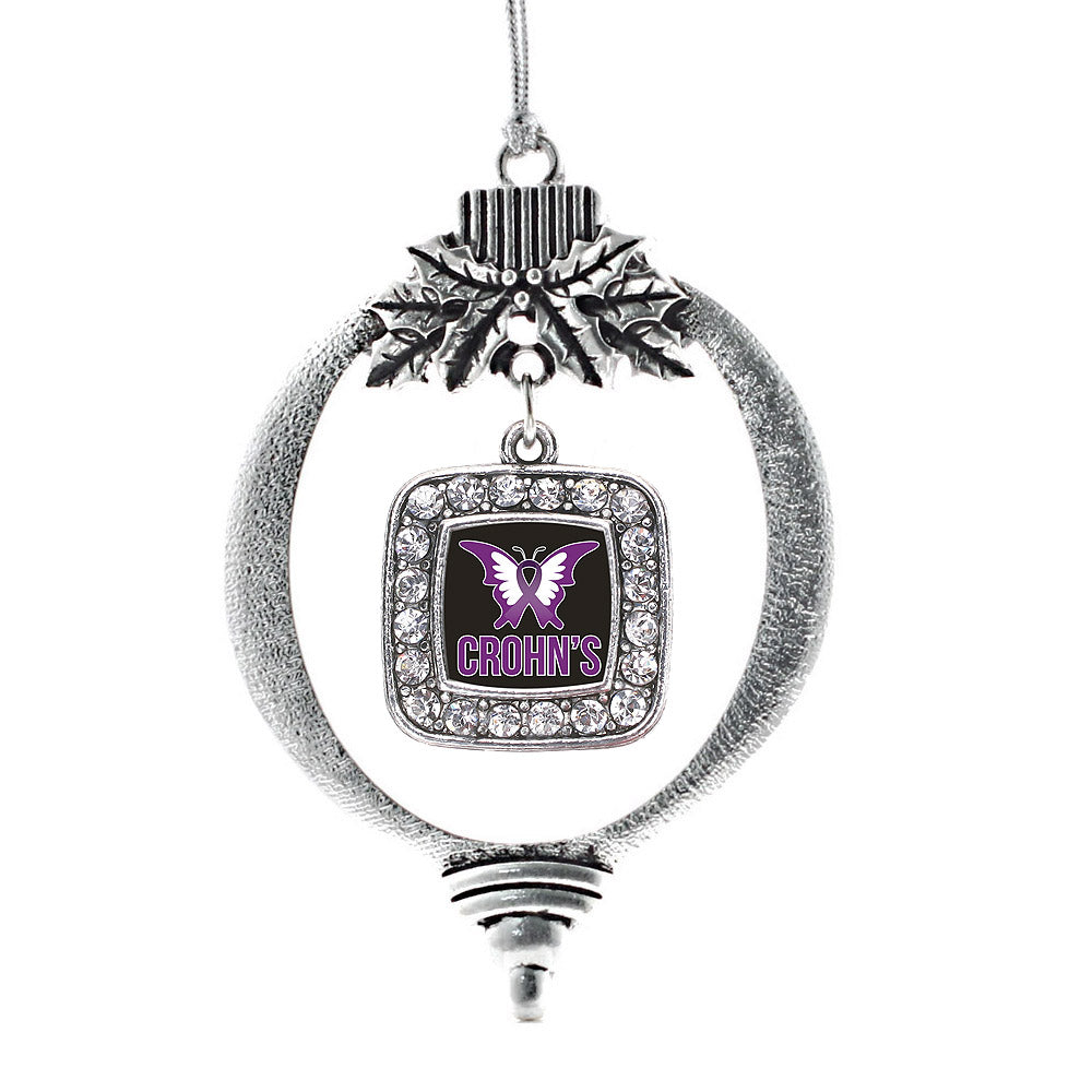Crohn's Disease Square Charm Christmas / Holiday Ornament