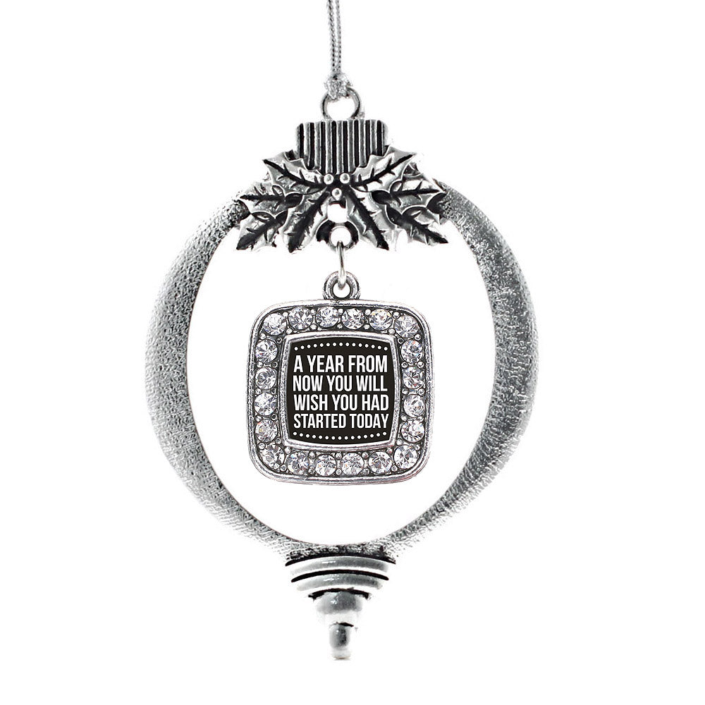 Start Today Inspirational Square Charm Christmas / Holiday Ornament