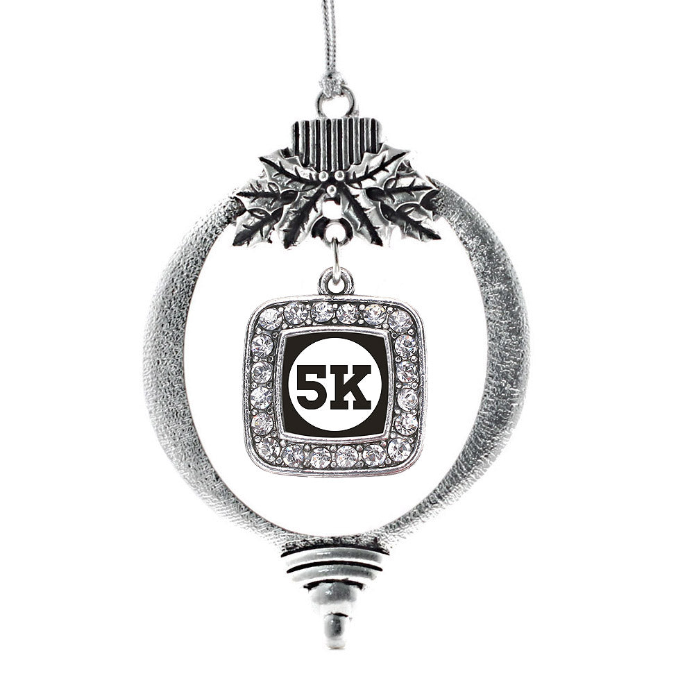 5K Runners Square Charm Christmas / Holiday Ornament