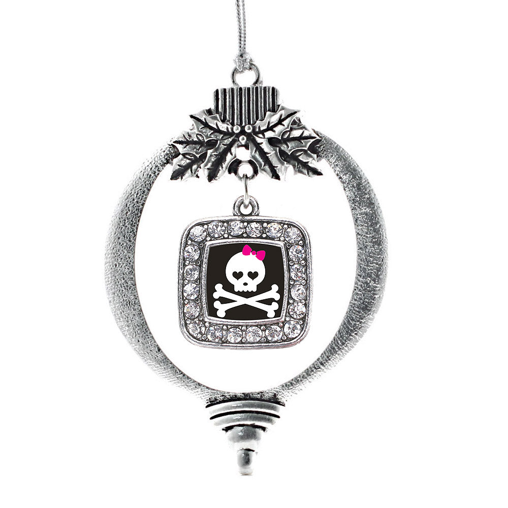 Cute Skull And Crossbones Square Charm Christmas / Holiday Ornament