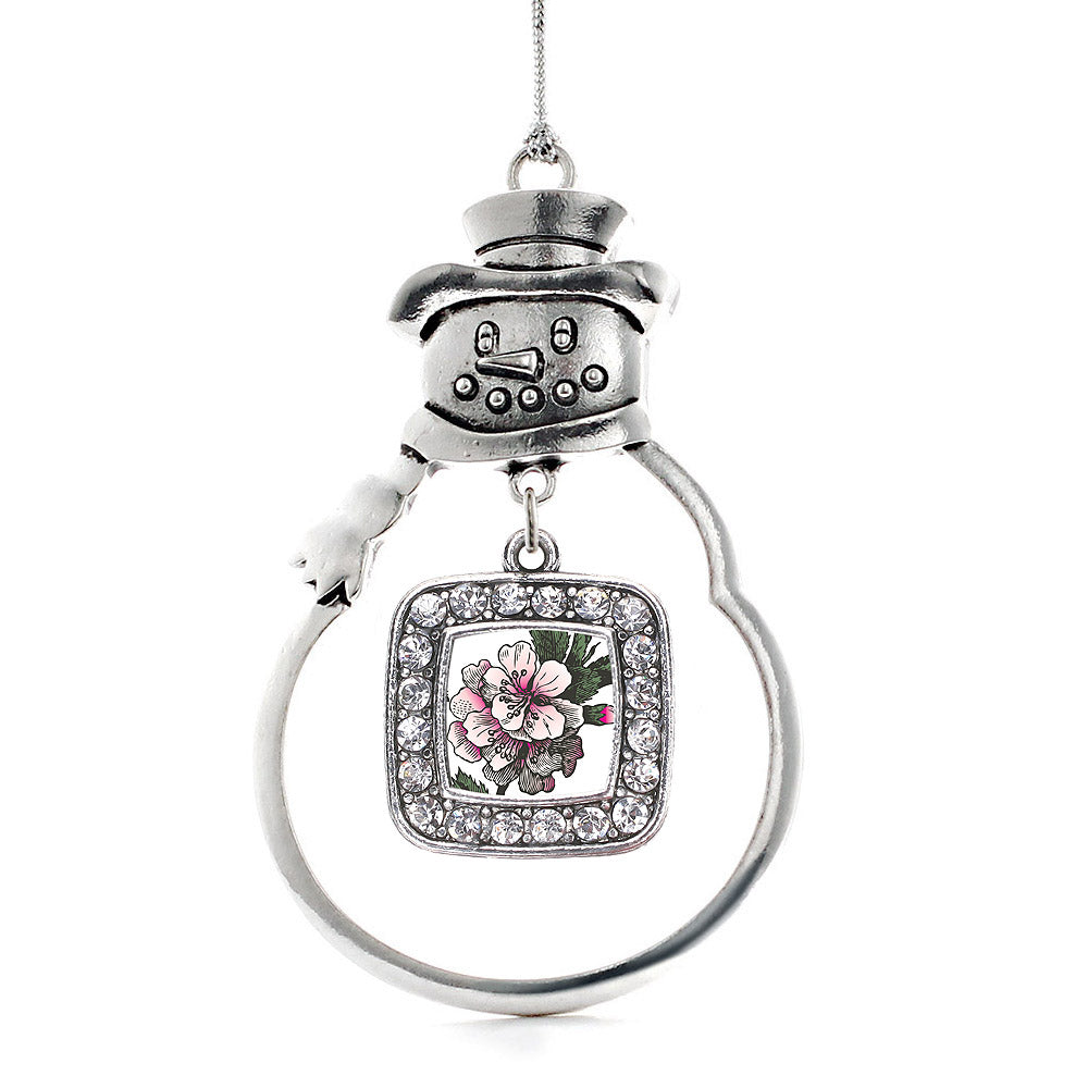 Apple Blossom Square Charm Christmas / Holiday Ornament