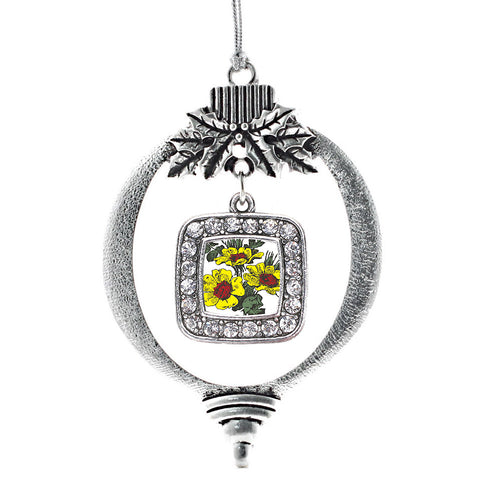 Coreopsis Flower Square Charm Christmas / Holiday Ornament