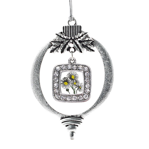 Daisy Flower Square Charm Christmas / Holiday Ornament