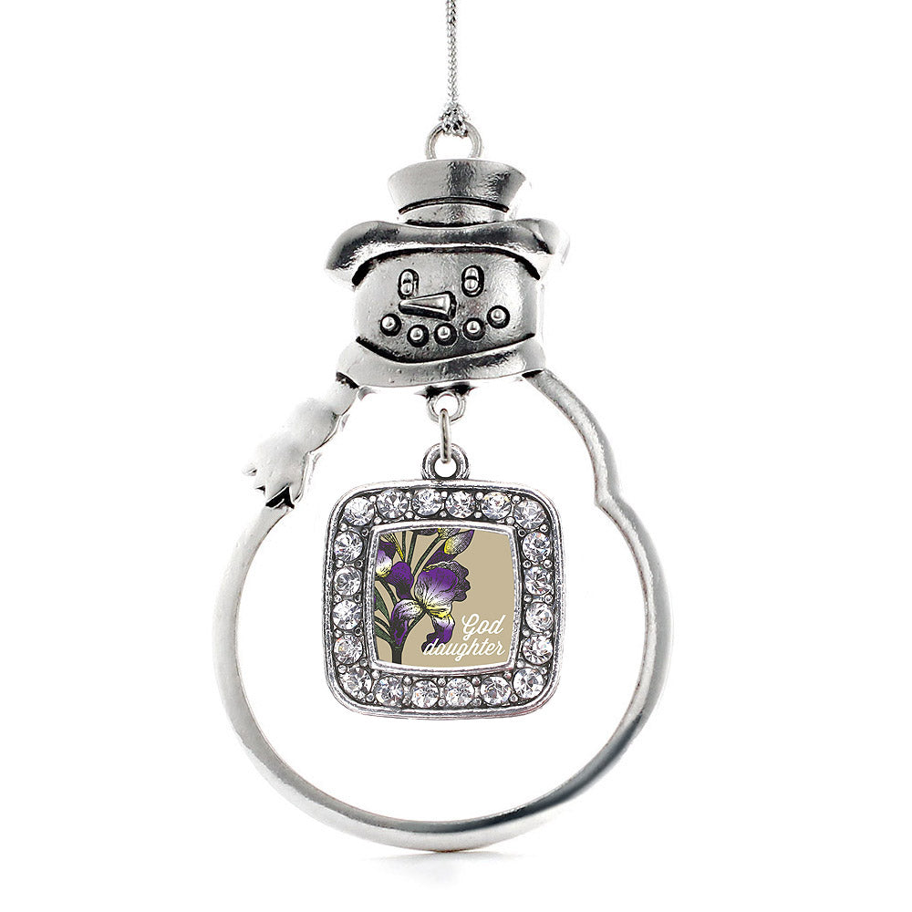 Goddaughter Iris Flower Square Charm Christmas / Holiday Ornament