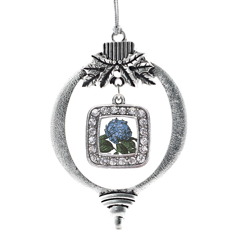 Hydrangea Flower Square Charm Christmas / Holiday Ornament